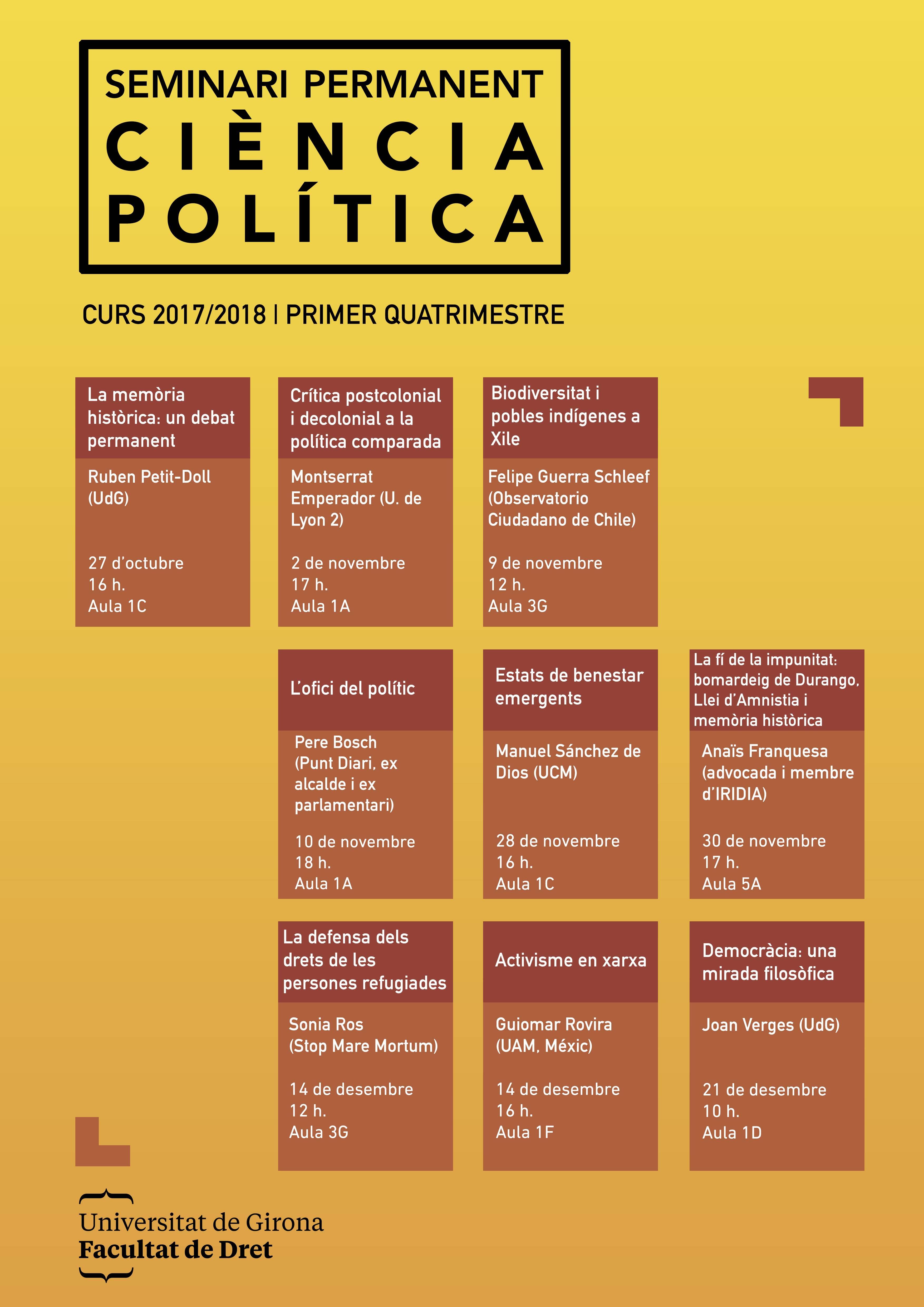 Seminari permanent - Ciència Política - Curs 2017/2018, primer quatrimestre